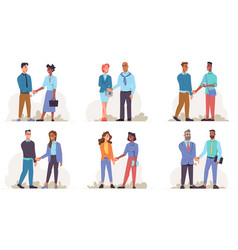 Man and woman shaking hands isolated people set vector