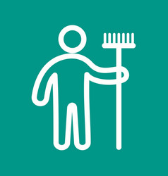 man holding mop vector image