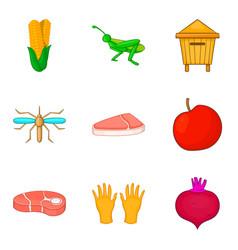 Meat procurement icons set cartoon style vector