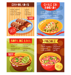 Mexican food dishes concept vector
