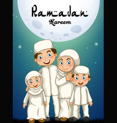 Muslim family in white costume vector
