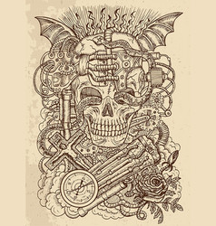 Mystic drawing with scary skull in steampunk style vector
