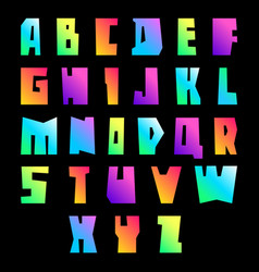 New font cut vibrant letters uppercase vector