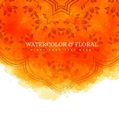 Orange watercolor floral background vector