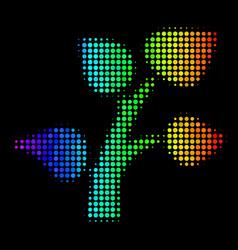 rainbow colored pixel plant tree icon vector image