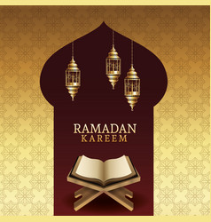 Ramadan kareem celebration with koran book vector