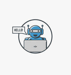 Robot with laptop vector