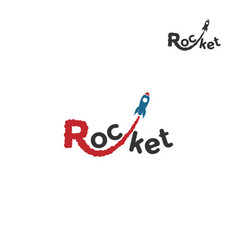 rocket logo from the letter r a rocket flies vector image