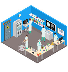 Science lab interior with furniture isometric view vector