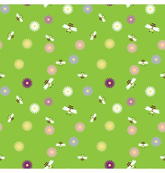 seamless background with bees and flowers vector image vector image