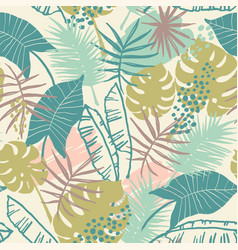Seamless exotic pattern with tropical plants vector