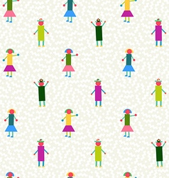 Seamless pattern people geometry colorful vector