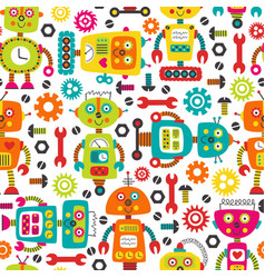 seamless pattern with colorful robots vector image