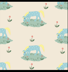 Seamless pattern with funny hand drawn blue horse vector