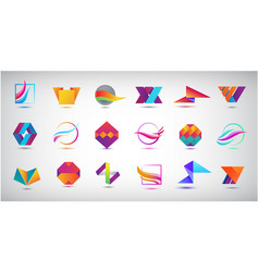 set abstract web logos business icons vector image