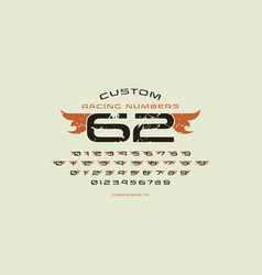 set initial numbers in racing style vector image