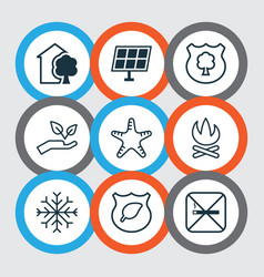 Set of 9 ecology icons includes sea star bonfire vector