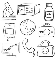 Set of element medical health doodles vector