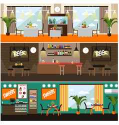 Set of pub restaurant interior concept vector