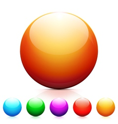 Set of shiny colored spheres with reflection vector