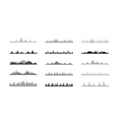 set radio wave icons monochrome simple sound vector image