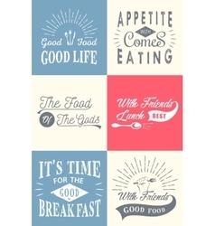 Set vintage food typographic quotes vector
