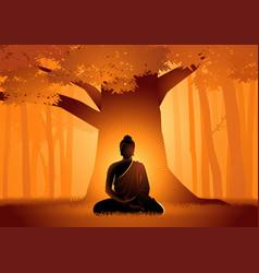 siddhartha gautama enlightened under bodhi tree vector image