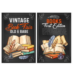 Sketch posters or rarity vintage books vector