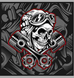 Skull helmet with piston hand drawing vector