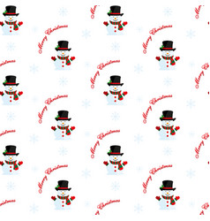 snowman with hat and scarf christmas pattern vector image