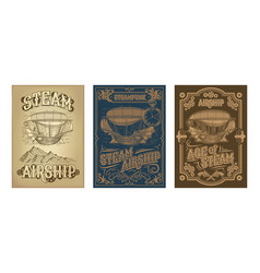 steampunk posters with fantastic wooden vector image