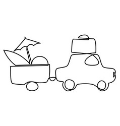 summer holiday car trip one line drawing vector image