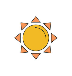 sun icon cartoon style vector image