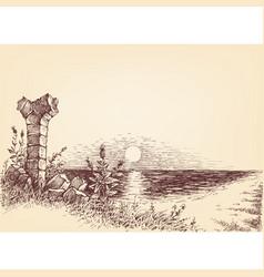sunrise on beach idyllic landscape drawing vector image