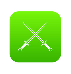 swords icon digital green vector image