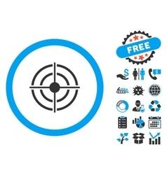 Target Aim Flat Icon with Bonus vector image
