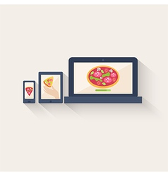 Three different pizza icons displayed online vector image