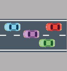 view aerial sedan cars vehicles vector image