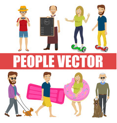 Young people with various characters vector