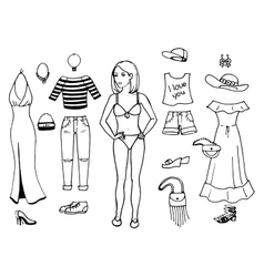 a girl trying on clothes vector image