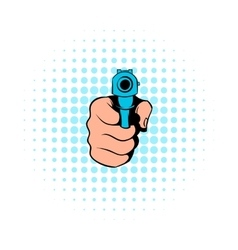Hand pointing with the gun icon comics style vector