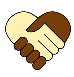 hand shake between black and white man vector image vector image