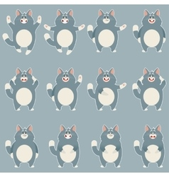 Set of flat grey cat icons vector image