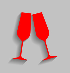 sparkling champagne glasses red icon with vector image