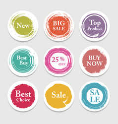 colorful paper circle sticker label vector image vector image