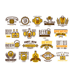 logos set for brewing company vintage linear vector image vector image