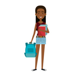 beautiful and young woman student with schoolbag vector image