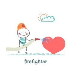 firefighter extinguishes heart vector image vector image