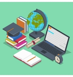 Isometric education concept 3d back to vector image