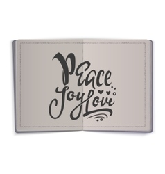 Peace joy love Hand-lettering text Handmade vector image